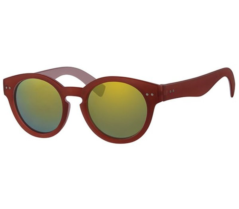 Retro Unisex Ronde Spiegel Zonnebril Summer Nights - Red Gold