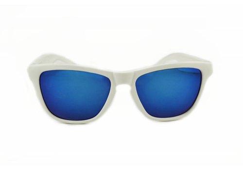 BK Witte Spiegel Zonnebril met Blauwe spiegelglazen - Shine Way