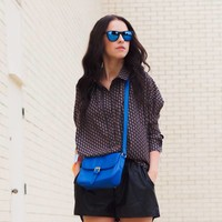 Zwarte Spiegelzonnebril met Blauwe Spiegelglazen - Shine Way