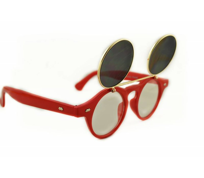 RETRO ROUND CLEAR LENS FLIP UP GLASSES - RETRO CLIP LIMITED