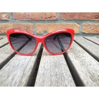 WOMENS RETRO CAT EYE SUNGLASSES TWO TONE RED BLACK - GINGER