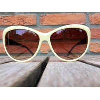 DAMES RETRO CAT EYE ZONNEBRIL TWO TONE CREME ZWART - ALICE
