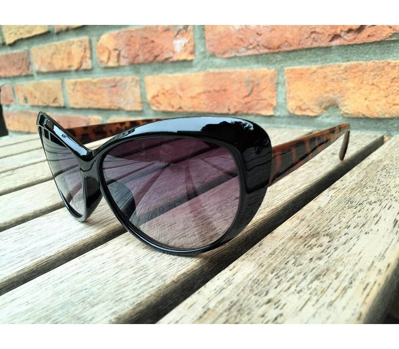 WOMENS RETRO CAT EYE SUNGLASSES TWO TONE BLACK BROWN TORTOISE - CLEO
