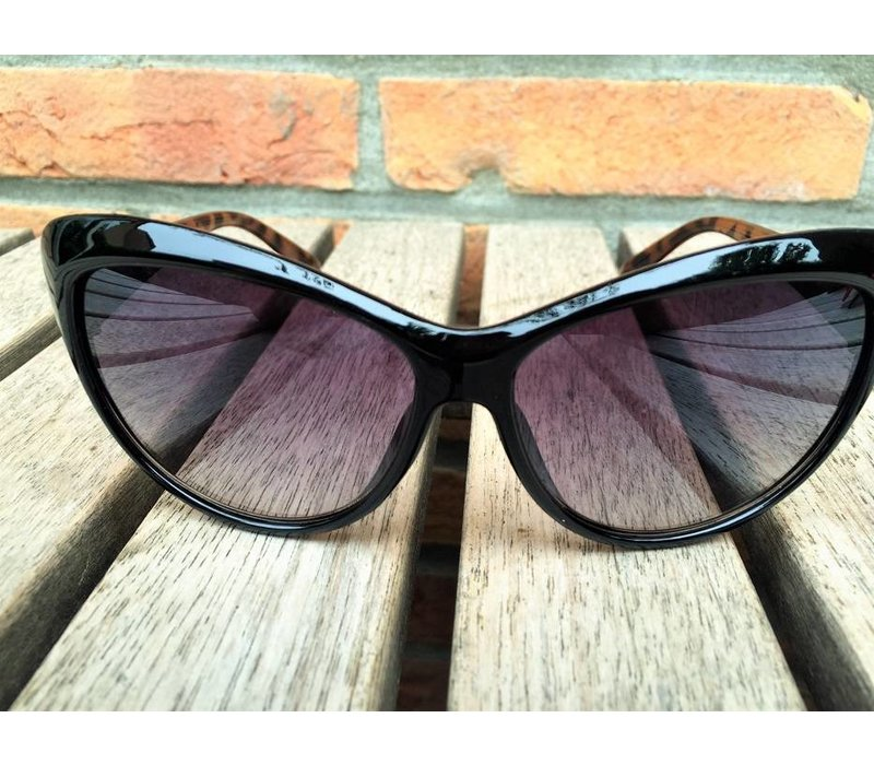 DAMES RETRO CAT EYE ZONNEBRIL TWO TONE ZWART BRUIN TORTOISE - CLEO