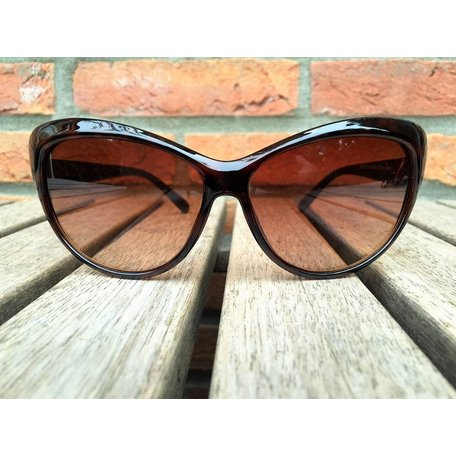 WOMENS RETRO CAT EYE SUNGLASSES TWO TONE BROWN TORTOISE BLACK