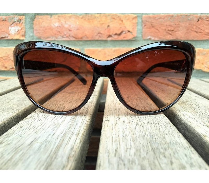 WOMENS RETRO CAT EYE SUNGLASSES TWO TONE BROWN TORTOISE BLACK - LARA