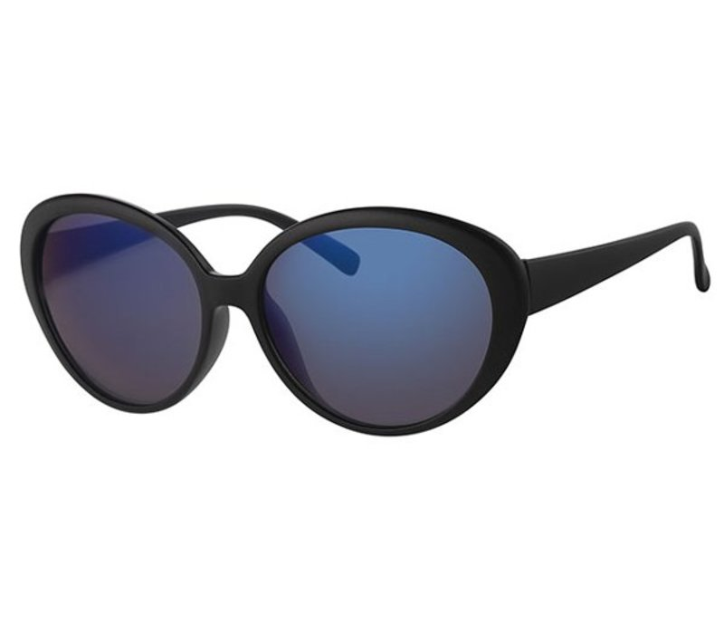 LARGE BLACK WOMENS MIRRORED LENS SUNGLASSES - BLUE CHILL