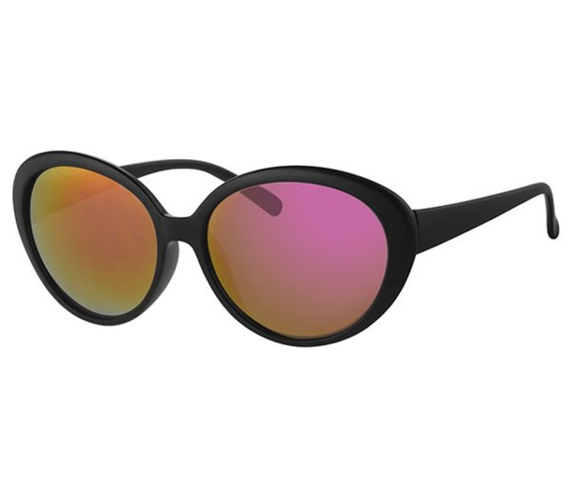 LARGE BLACK WOMENS MIRRORED LENS SUNGLASSES - BLACK FIRE