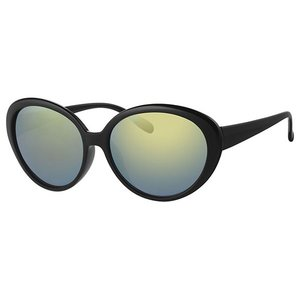 BK LARGE BLACK WOMENS MIRRORED LENS SUNGLASSES - BLACK GREEN
