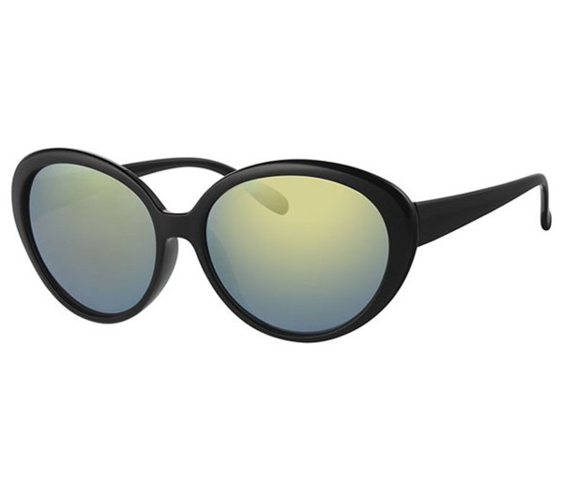 LARGE BLACK WOMENS MIRRORED LENS SUNGLASSES - BLACK GREEN