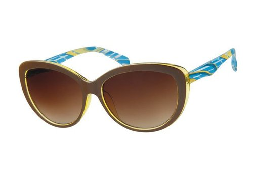 BK WOMENS RETRO CAT EYE SUNGLASSES - BROWN CARAMEL