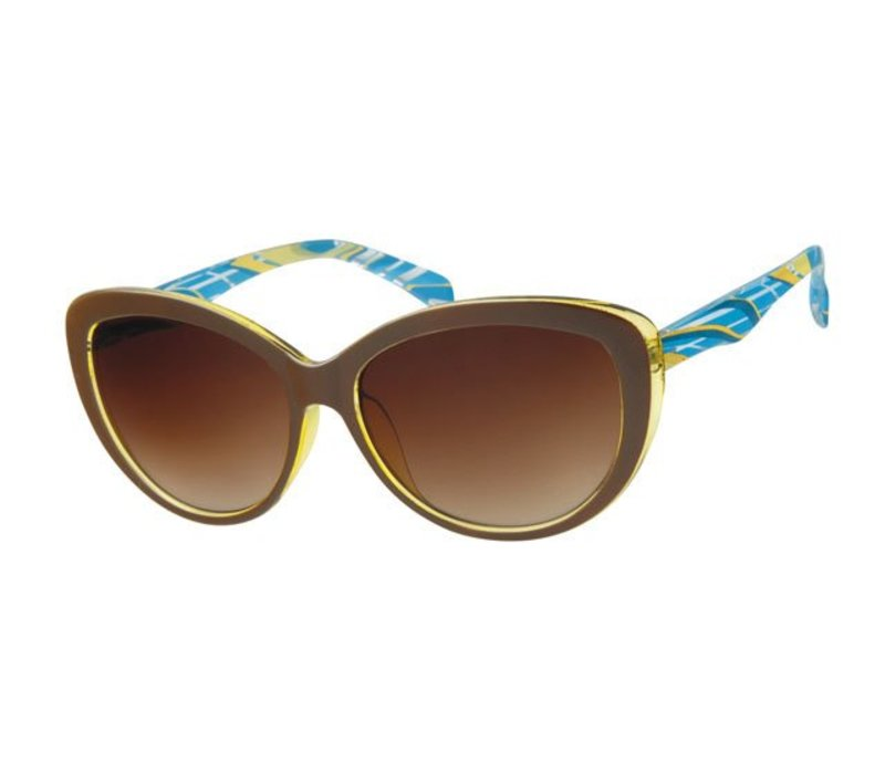 WOMENS RETRO CAT EYE SUNGLASSES - BROWN CARAMEL