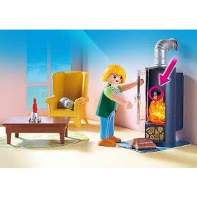 Playmobil Playmobil Dollhouse Woonkamer met Houtkachel 5308 - ABCToys.nl