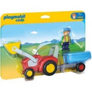 Playmobil 1 2 3 Boer met Tractor en Aanhangwagen 6964