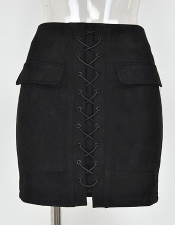 SUEDE LACE UP SKIRT BLACK