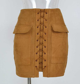 SUEDE LACE UP SKIRT CAMEL