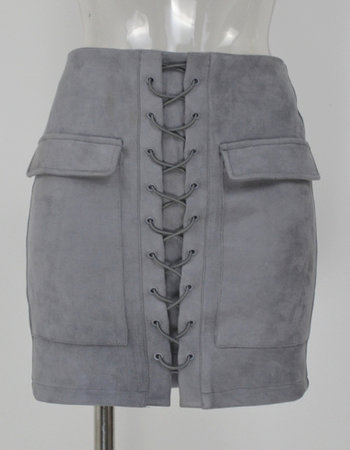 SUEDE LACE UP SKIRT GREY