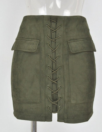 SUEDE LACE UP SKIRT KHAKI