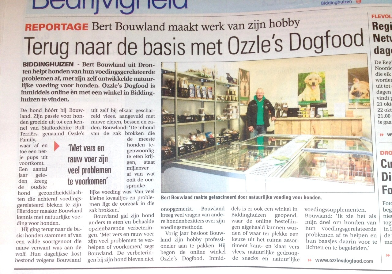 Reportage Flevopost over Ozzles Dogfood