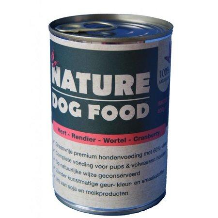 Nature Dogfood  Nature Dogfood blikvoeding voor honden met hert, rendier, wortel en cranberry