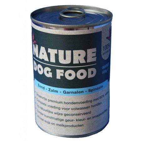 Nature Dogfood  Blikvoeding met eend, zalm, garnalen en spinazie