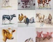 Farm animals on tiles