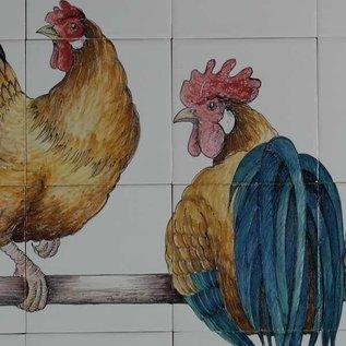 Dieren - Tieren - animals RH28-1, 4 Hühner auf eine Stange