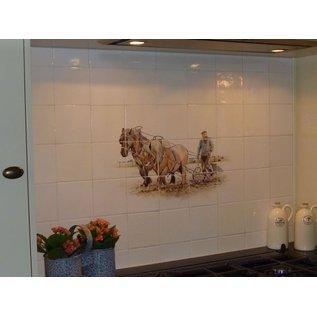 Dieren - Tieren - animals Farmer with team of horses