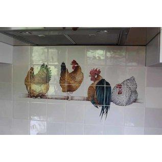 Voorbeelden - Fotogalerie - Photo Gallery 4 Hühner auf Stange