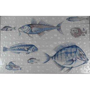 Dieren - Tieren - animals Fisch gemalt auf 2 Fliesen