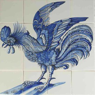 Dieren - Tieren - animals Rooster in blue