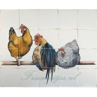 Dieren - Tieren - animals 3 Hühner auf Stange