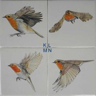 Dieren - Tieren - animals Robins painted on tiles