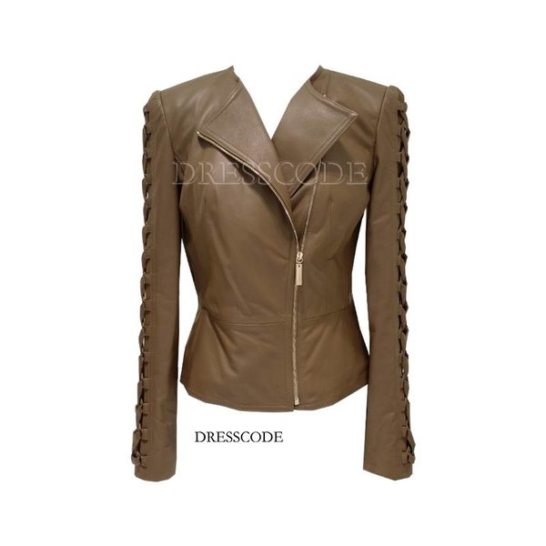 Leather jacket with braided sleeve