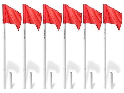 Geveerde cornervlagstok met rode cornervlag