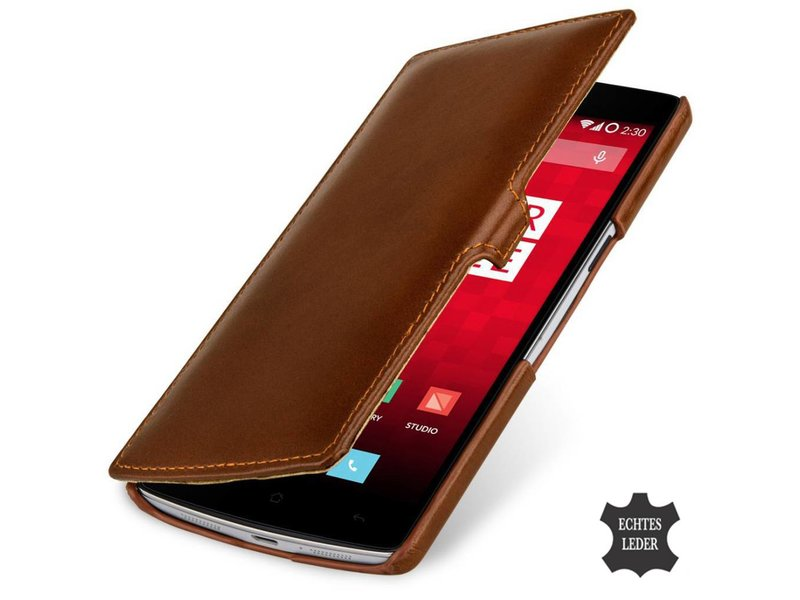 StilGut Handyhülle Book Clip Cognac Braun OnePlus One
