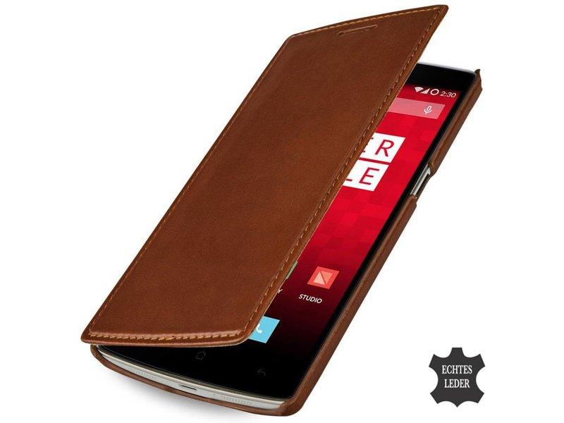 """StilGut Handyhülle Book """"Ohne Clip"""" Cognac Braun OnePlus One"""