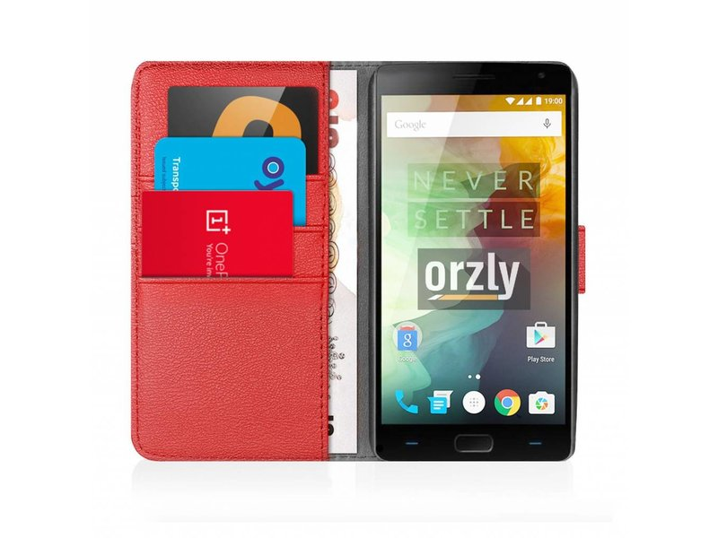 Orzly Wallet Flip Case Rot OnePlus 2