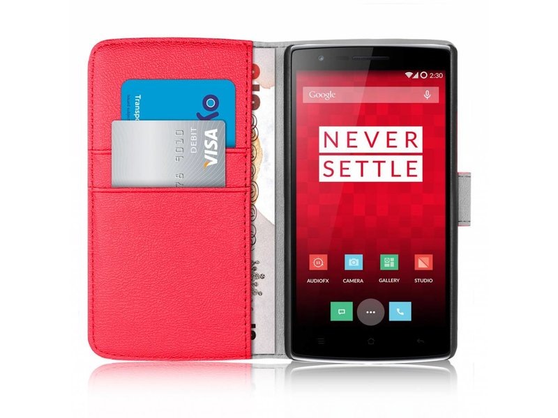 Orzly Wallet Flip Case Rot OnePlus One