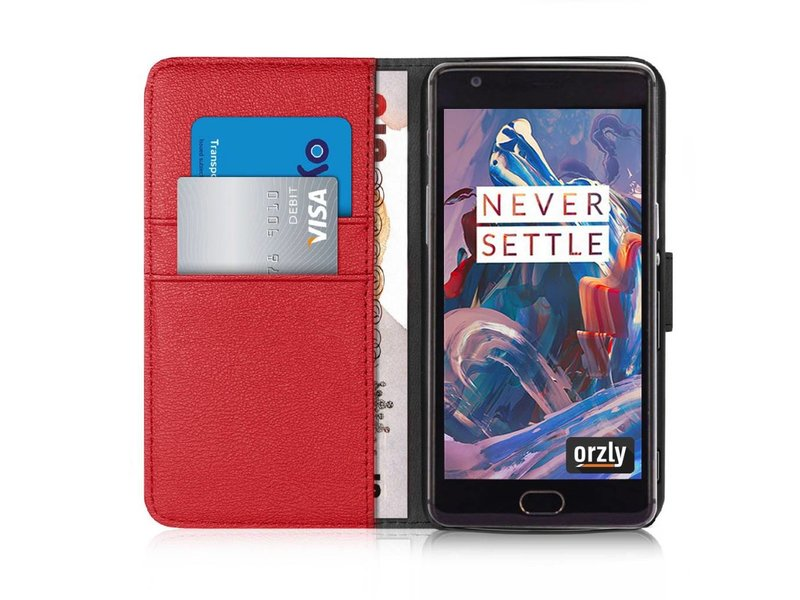 Orzly Wallet Flip Case Rot OnePlus 3/3T