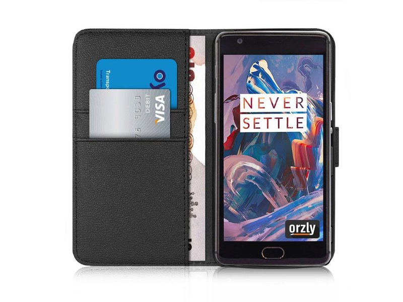 Orzly Wallet Flip Case Schwarz OnePlus 3