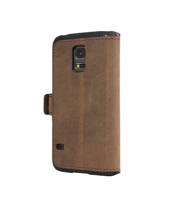 Bouletta Samsung Galaxy S6 Edge Lederen WalletCase Hoesje (Antic Coffee)