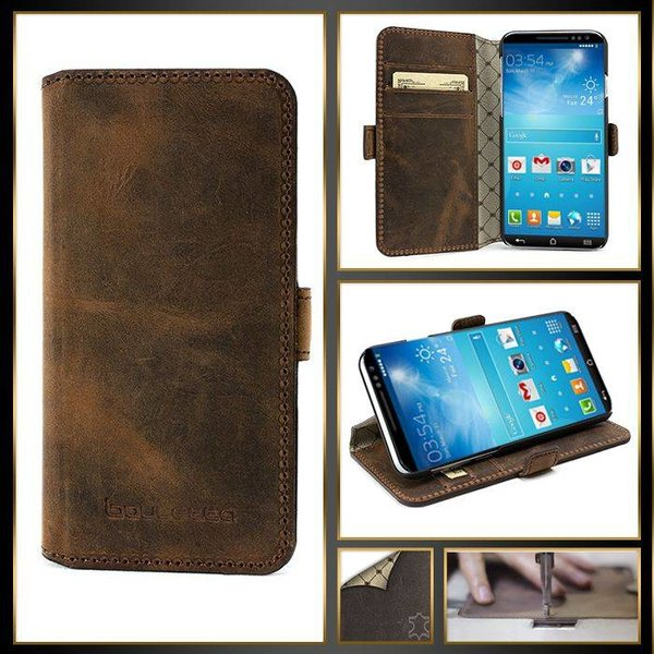 Samsung Galaxy S6 Edge Lederen WalletCase Hoesje (Antic Coffee)