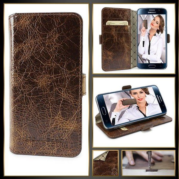 Samsung Galaxy S6 Lederen WalletCase Hoesje (Vessel Brown)