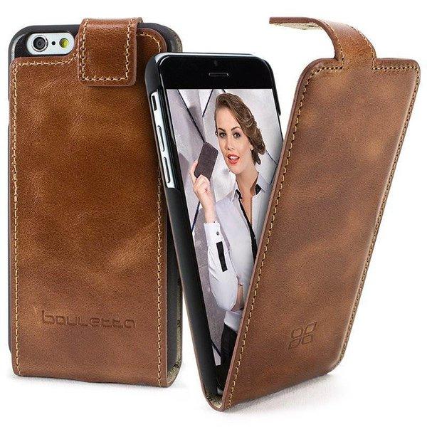 Apple iPhone 6s Lederen FlipCase Hoesje (Rustic Cognac)