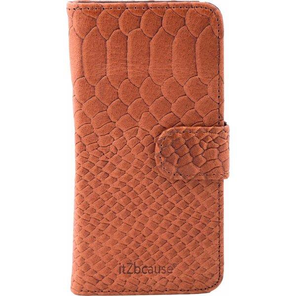 itZbcause Snake Magnetic Walletcase Hoesje voor Samsung Galaxy S6 Edge - Bruin