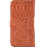 itZbcause itZbcause Snake Magnetic Walletcase Hoesje voor Samsung Galaxy S6 Edge - Bruin