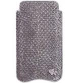 itZbcause itZbcause Uniek Vislederen Hoesje voor de iPhone 5(S) & SE - Zalm Grijs