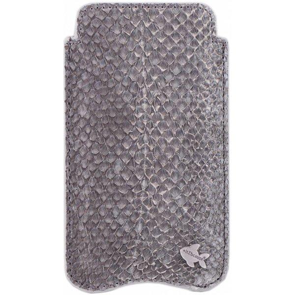 itZbcause Uniek Vislederen Hoesje voor de iPhone 5(S) & SE - Zalm Grijs