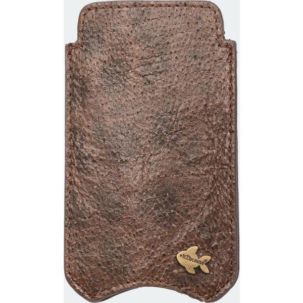 itZbcause Uniek Vislederen Hoesje voor de iPhone 5(S) & SE - Zeewolf Bruin